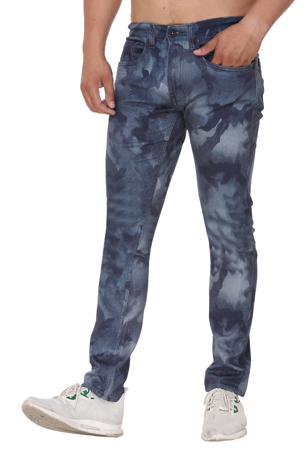 CASA Men's Cotton printed Skinny Fit Jeans