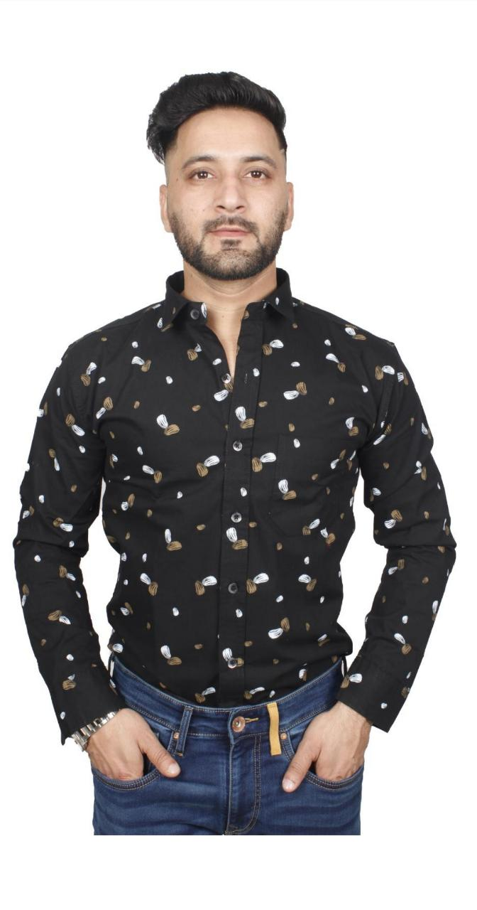 Soumj Men Stylish full sleeve PRINTED casual shirt with Classic Collar